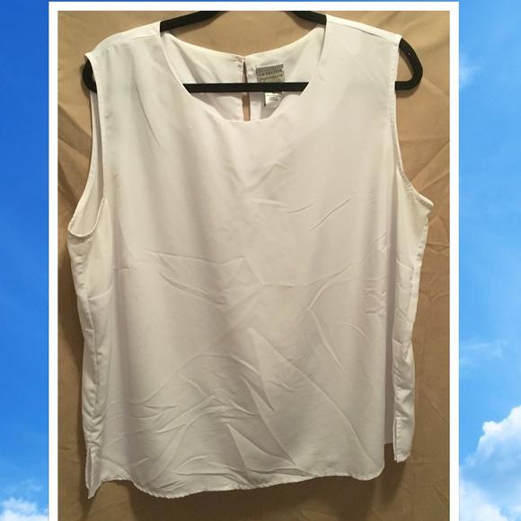 Kim Rogers Tops Size 1x Silky Sleeveless White Blouse Poshmark